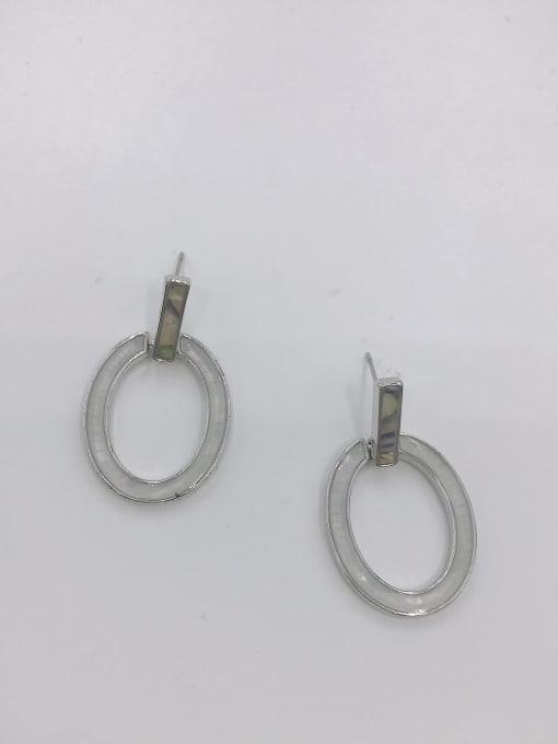 VIENNOIS Zinc Alloy Shell Multi Color Oval Minimalist Drop Earring 0