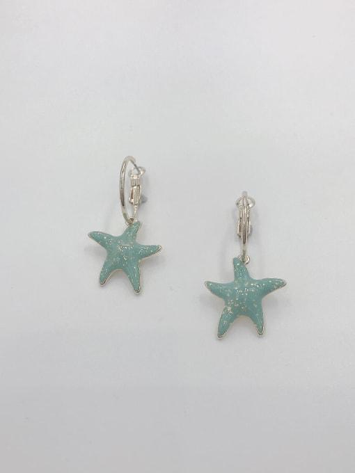 GOLD+GREEN Zinc Alloy Enamel Star Cute Huggie Earring