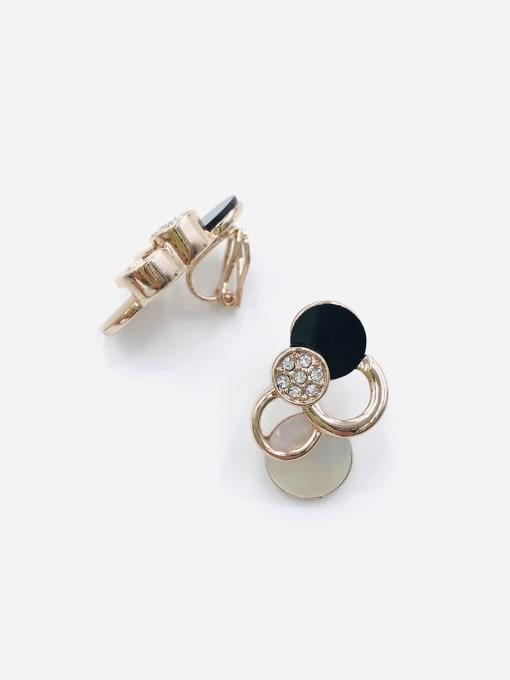 VIENNOIS Zinc Alloy Shell White Acrylic Geometric Trend Clip Earring 0