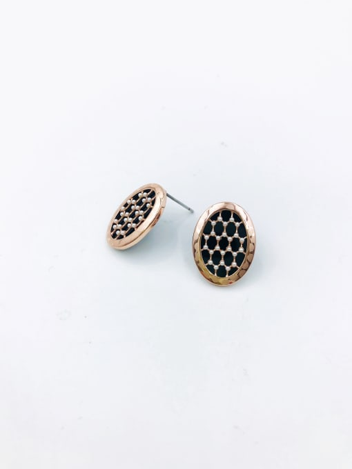 Rose Brass Imitation Pearl White Acrylic Oval Dainty Stud Earring