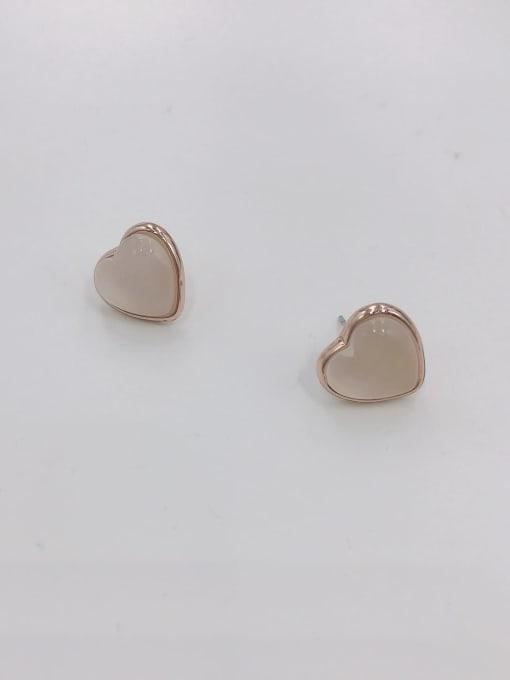 VIENNOIS Zinc Alloy Cats Eye White Heart Minimalist Stud Earring 0
