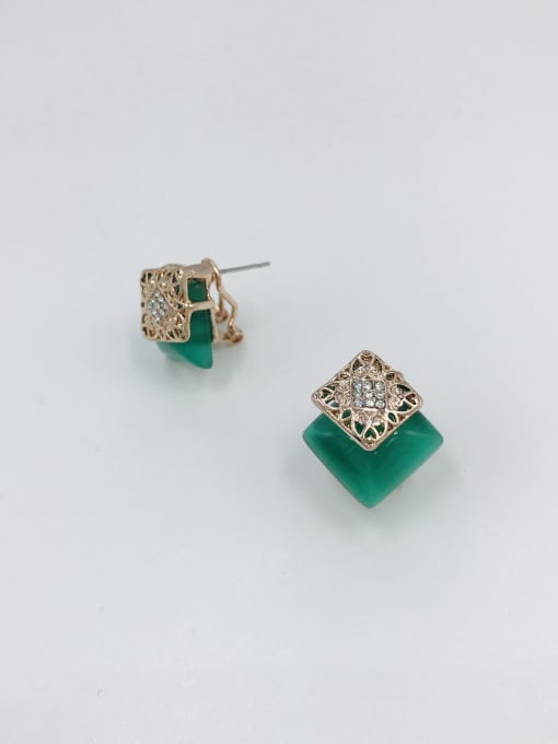 VIENNOIS Zinc Alloy Cats Eye Green Square Classic Clip Earring 0