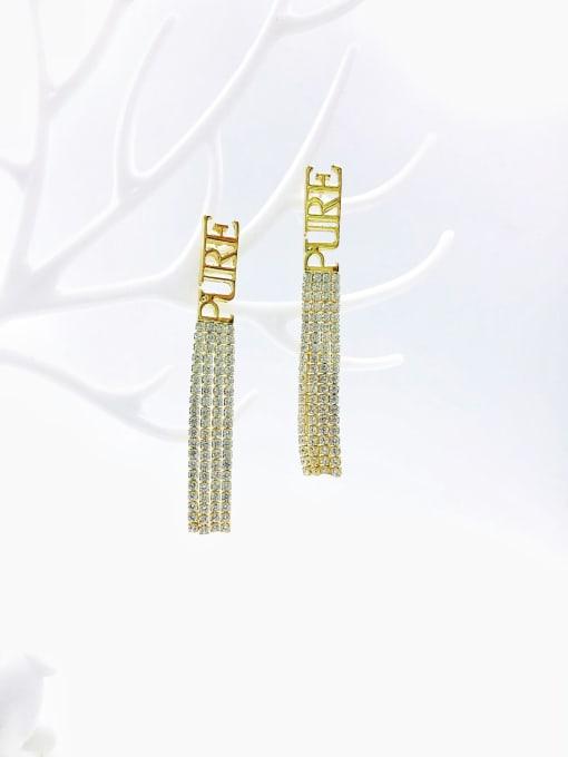 VIENNOIS Brass Cubic Zirconia White Tassel Trend Drop Earring