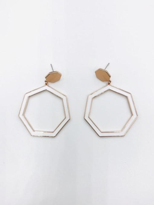 ROSE GOLD+ORANGE+WHITE Zinc Alloy Enamel Geometric Minimalist Drop Earring