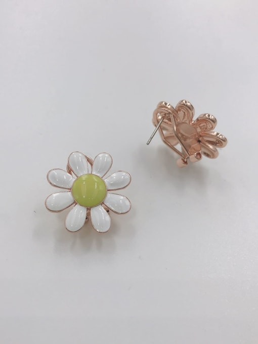 ROSE GOLD+WHITE+GREEN Zinc Alloy Enamel Flower Trend Clip Earring
