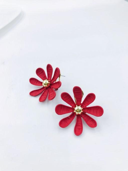 Red Zinc Alloy Flower Statement Clip Earring