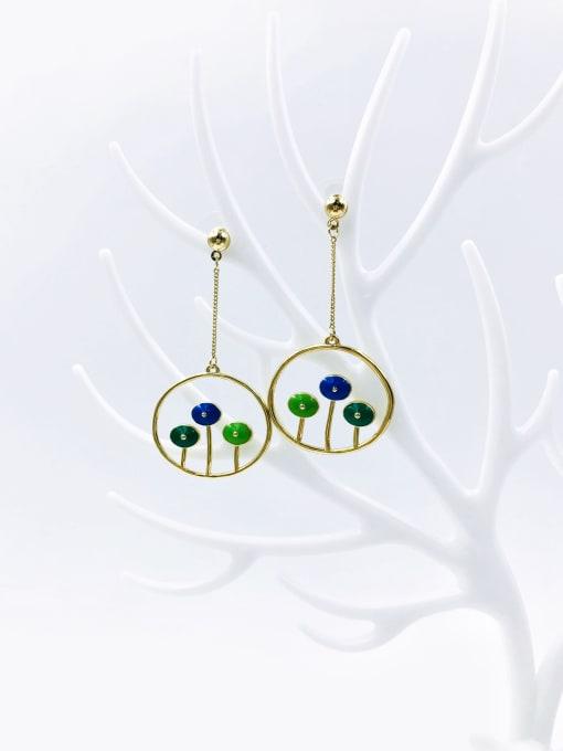 VIENNOIS Brass Enamel Oval Trend Drop Earring
