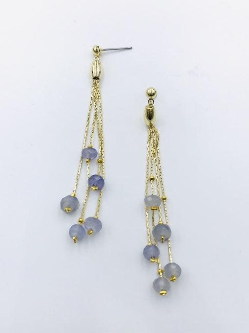 Gold Zinc Alloy Crystal Purple Tassel Trend Drop Earring
