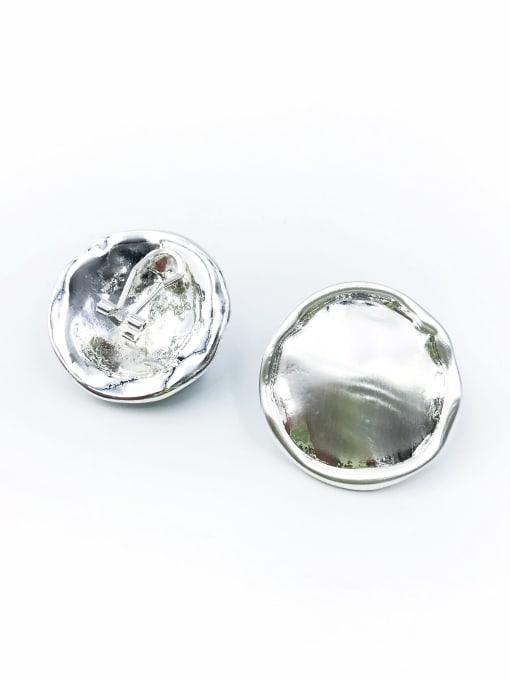 Silver Zinc Alloy Round Minimalist Clip Earring