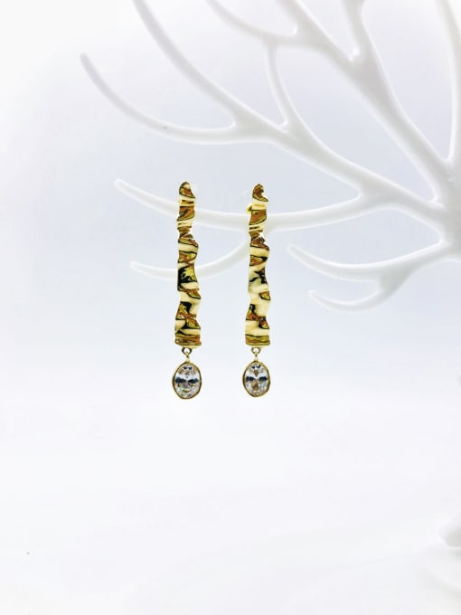 gold+white glass Brass Glass Stone Purple Irregular Trend Drop Earring
