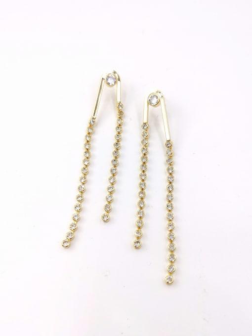 VIENNOIS Brass Cubic Zirconia Clear Tassel Trend Drop Earring