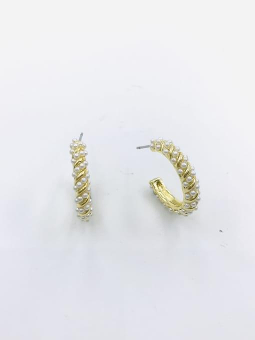 VIENNOIS Zinc Alloy Imitation Pearl White Hook Minimalist Stud Earring 0