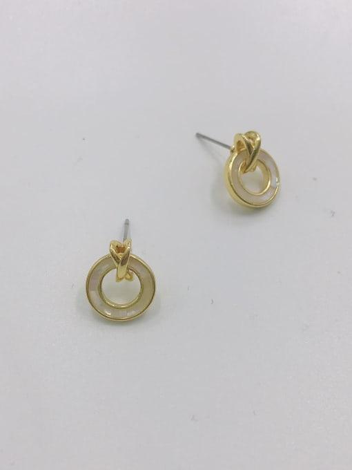 VIENNOIS Zinc Alloy Shell White Round Minimalist Stud Earring
