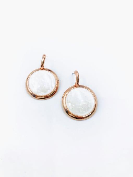 Rose Zinc Alloy Shell White Round Minimalist Drop Earring
