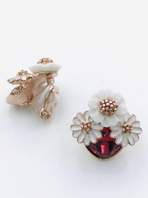 Red Zinc Alloy Glass Stone Red Enamel Flower Trend Clip Earring
