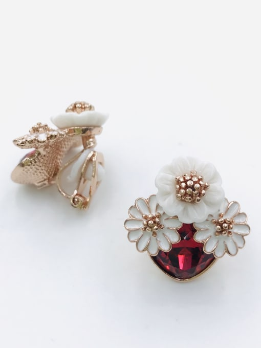 VIENNOIS Zinc Alloy Glass Stone Red Enamel Flower Trend Clip Earring 0