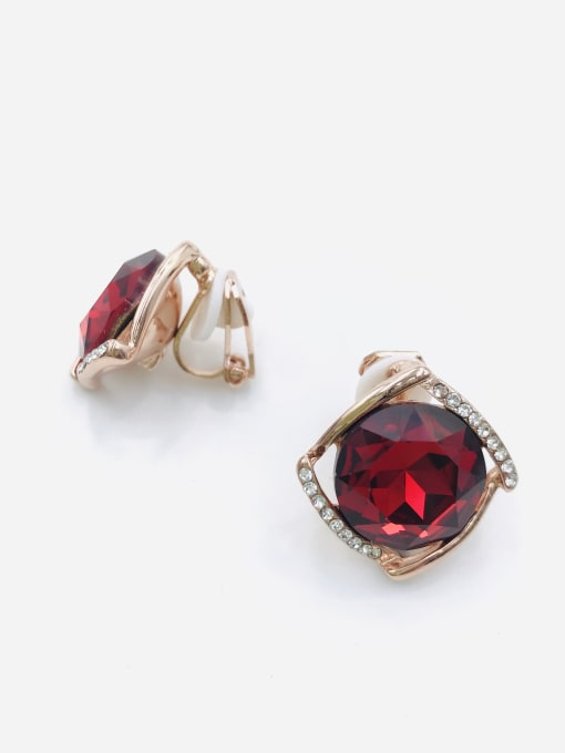 VIENNOIS Zinc Alloy Glass Stone Red Square Minimalist Clip Earring 0