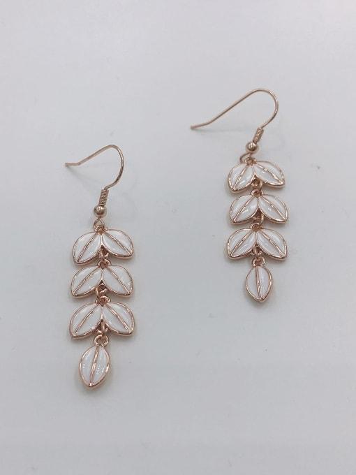 ROSE GOLD+WHITE Zinc Alloy Enamel Leaf Dainty Hook Earring
