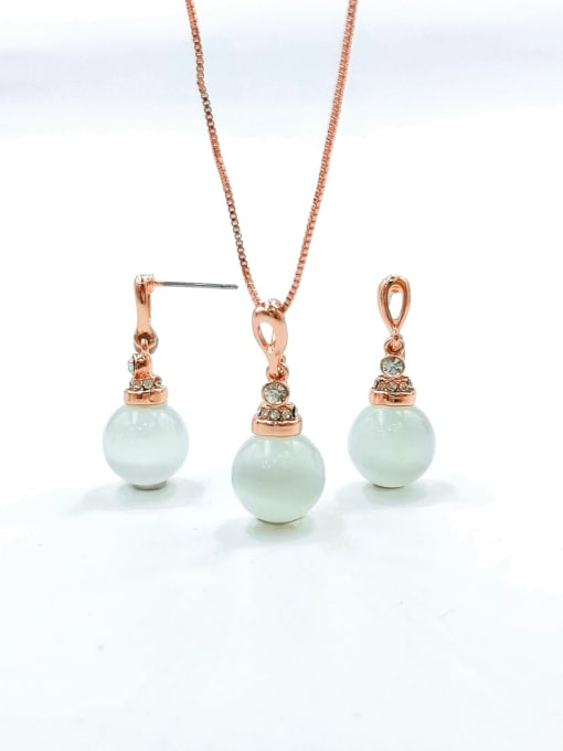 VIENNOIS Dainty Ball Zinc Alloy Cats Eye White Earring and Necklace Set 0