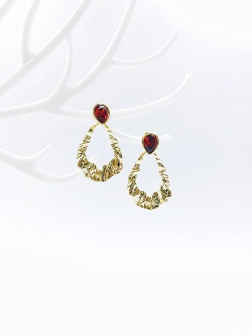 VIENNOIS Brass Glass Stone White Irregular Trend Drop Earring 1