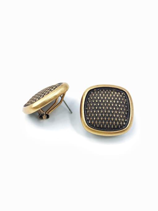 antique gold Zinc Alloy Square Minimalist Clip Earring