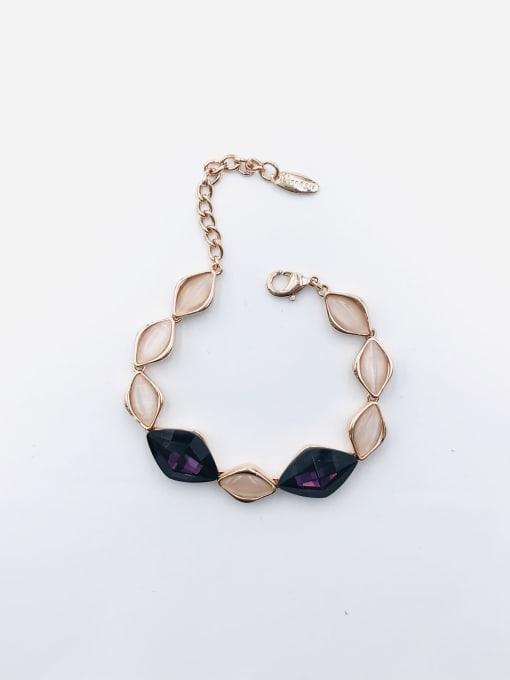 Purple Zinc Alloy Glass Stone Blue Geometric Trend Bracelet