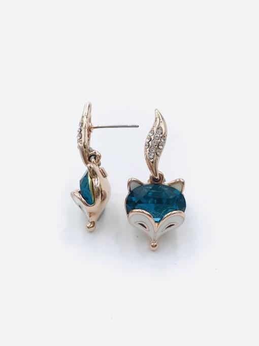 Blue Zinc Alloy Glass Stone Blue Enamel Fox Cute Drop Earring