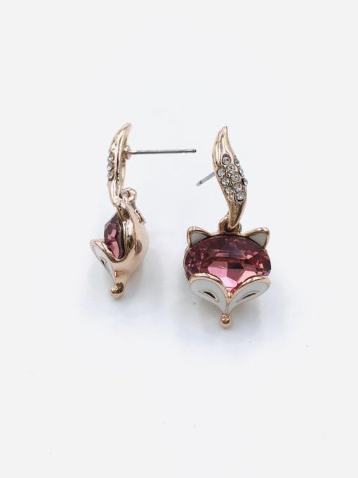 Red Zinc Alloy Glass Stone Blue Enamel Fox Cute Drop Earring