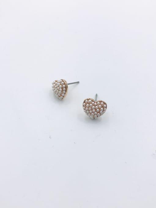 VIENNOIS Zinc Alloy Imitation Pearl White Heart Cute Stud Earring 0