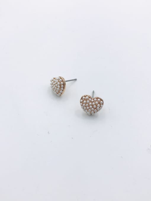 VIENNOIS Zinc Alloy Imitation Pearl White Heart Cute Stud Earring