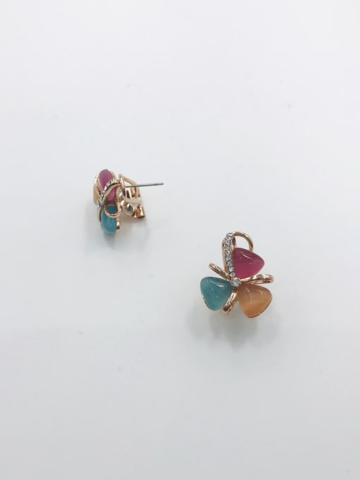 VIENNOIS Zinc Alloy Cats Eye Multi Color Irregular Trend Clip Earring