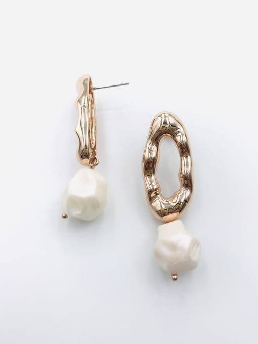 VIENNOIS Zinc Alloy Imitation Pearl White Irregular Trend Drop Earring