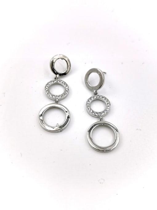 Silver Zinc Alloy Rhinestone Clear Round Classic Drop Earring