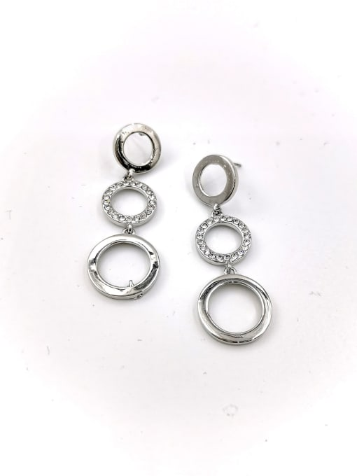 VIENNOIS Zinc Alloy Rhinestone Clear Round Classic Drop Earring 1