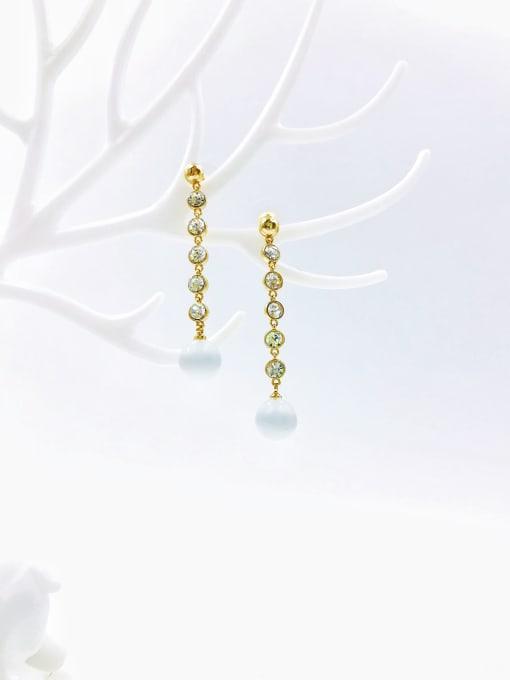Gold Brass Cats Eye White Ball Dainty Drop Earring
