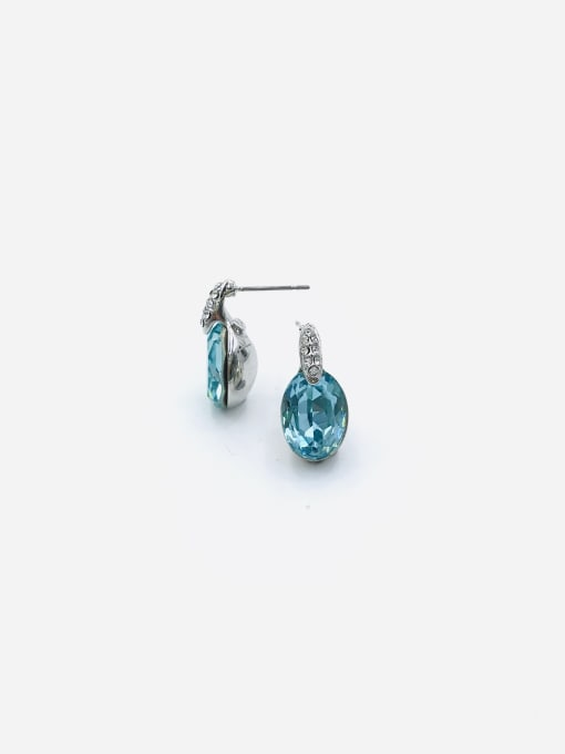 VIENNOIS Zinc Alloy Glass Stone Blue Oval Minimalist Stud Earring 0
