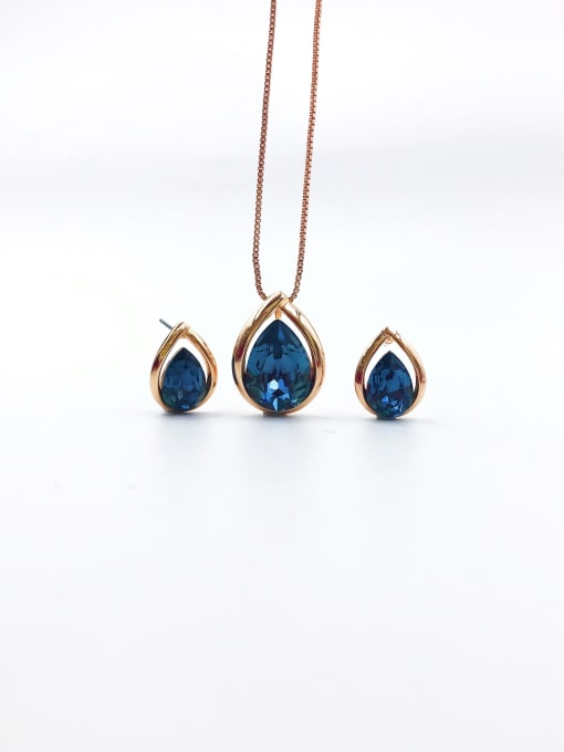 VIENNOIS Minimalist Water Drop Brass Swarovski Crystal Blue Earring and Necklace Set