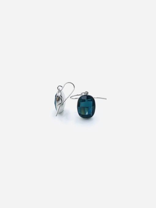 VIENNOIS Brass Glass Stone Blue Oval Minimalist Hook Earring 0
