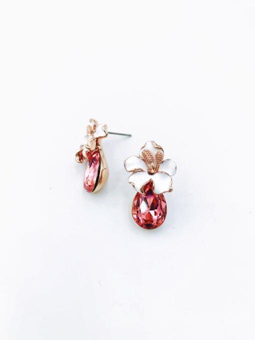 VIENNOIS Zinc Alloy Glass Stone Red Enamel Water Drop Dainty Stud Earring