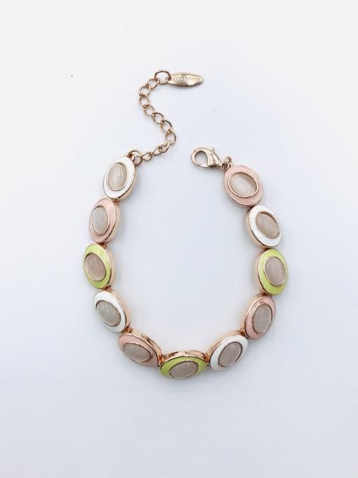 VIENNOIS Zinc Alloy Cats Eye White Enamel Oval Trend Bracelet 0