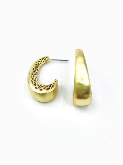 Gold Brass Hook Minimalist Stud Earring