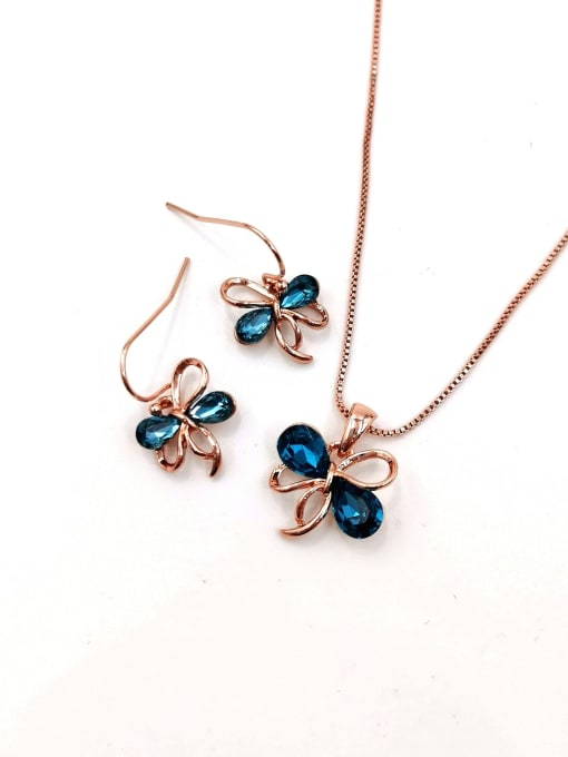 Rose Cute Bowknot Zinc Alloy Glass Stone Blue Earring and Necklace Set