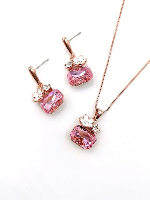 VIENNOIS Trend Geometric Zinc Alloy Glass Stone Pink Enamel Earring and Necklace Set 0