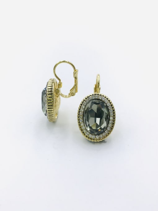 VIENNOIS Zinc Alloy Glass Stone Gray Oval Classic Huggie Earring 0