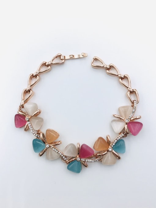 VIENNOIS Zinc Alloy Cats Eye Multi Color Flower Trend Bracelet