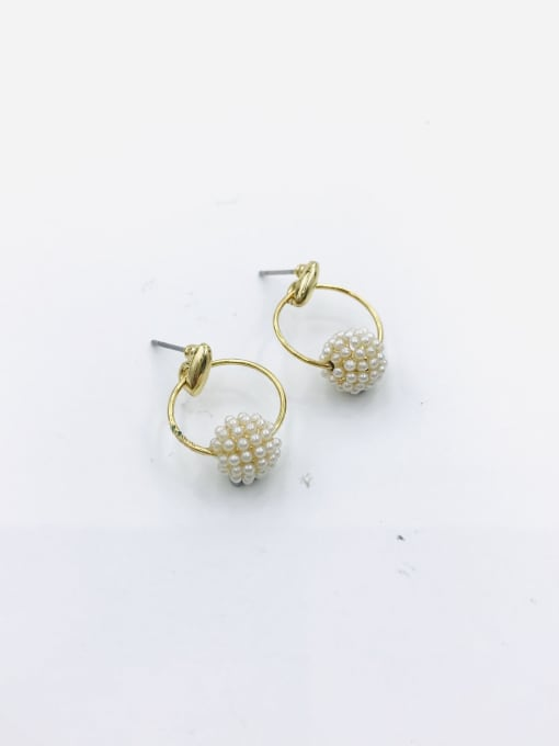 VIENNOIS Zinc Alloy Imitation Pearl White Ball Minimalist Drop Earring 0