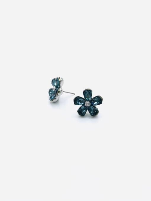 Blue Zinc Alloy Glass Stone Multi Color Flower Dainty Stud Earring
