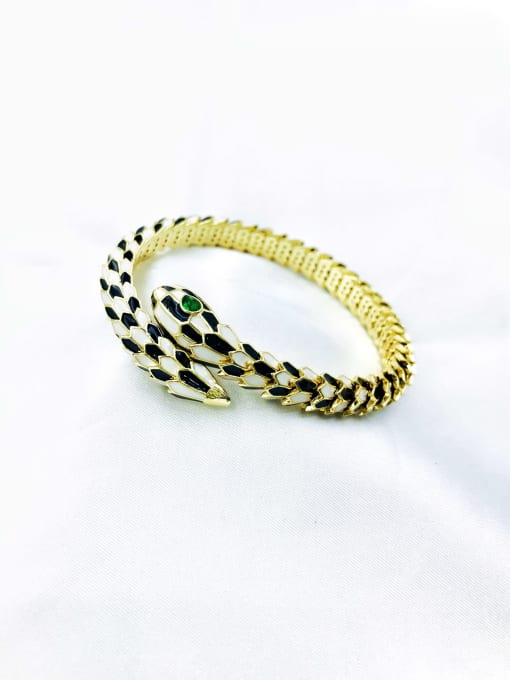 VIENNOIS Brass Rhinestone Green Enamel Snake Trend Cuff Bangle 0