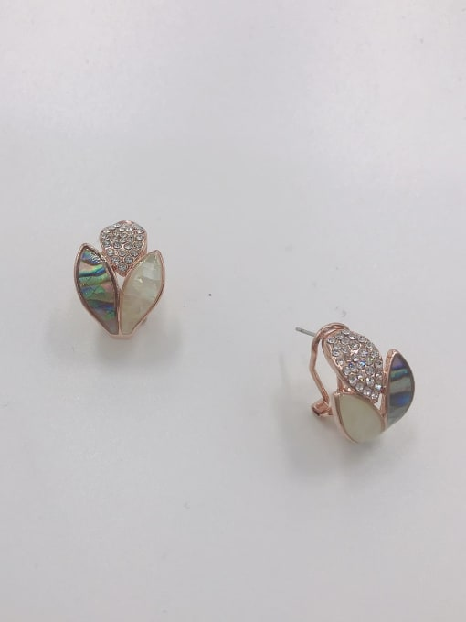 Rose Zinc Alloy Shell Multi Color Irregular Trend Clip Earring