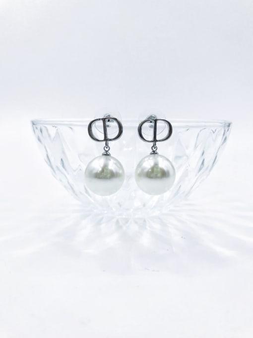 Silver Brass Imitation Pearl White Letter Trend Drop Earring